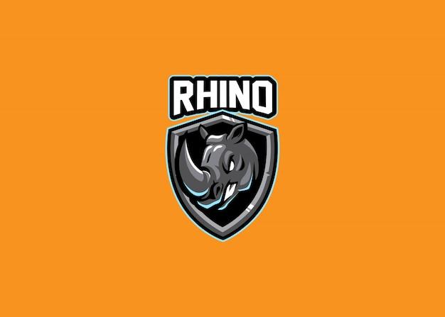Impressionnant jeu de logo esport de tête de rhinocéros