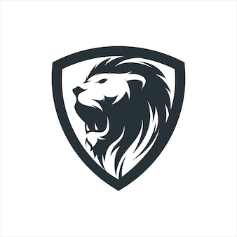 Impressionnant lion shield logo mascotte illustration vectorielle