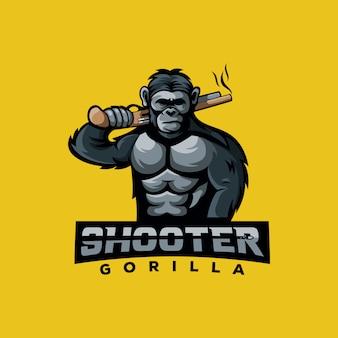 Impressionnant logo de singe tireur de gorilles pour les jeux de joueurs