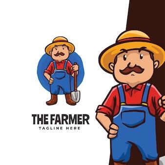 Impressionnant le modèle de logo de dessin animé de mascotte d'agriculteur adapté à la mascotte de ferme