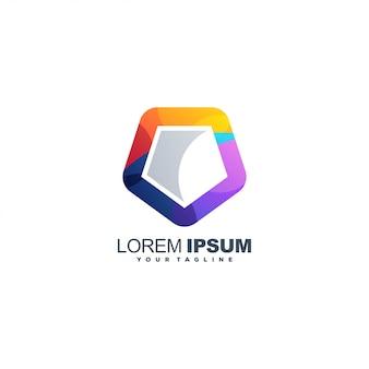 Impressionnant modèle de logo pentagone