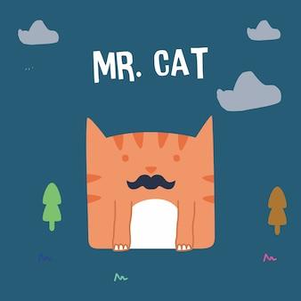 Impressionnant rétro doodle chat mignon