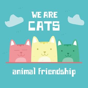 Impressionnant rétro doodle mignon amitié chats