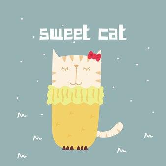Impressionnant rétro doodle mignon chat doux