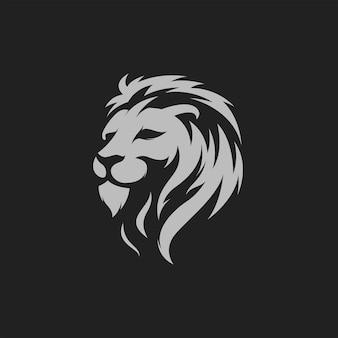 Impressionnant roi lion silhouette logo mascotte illustration vectorielle