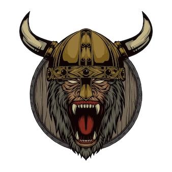 Impressionnant singe viking logo mascotte illustration vectorielle vecteur premium