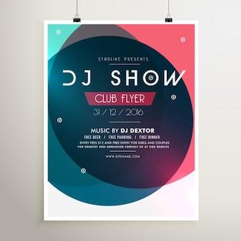 Impressionnante fête de la musique flyer template d'événement avec des formes colorées