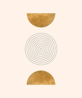 Impressions d'art mural boho avec des lignes de lune et de cercle