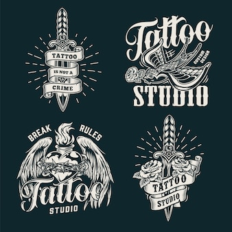 Impressions de salon de tatouage monochrome