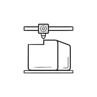 L'imprimante 3d imprime l'icône de doodle de contour dessiné à la main de cube. fabrication additive, concept de processus d'impression