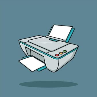 Imprimante avec du papier cartoon vector
