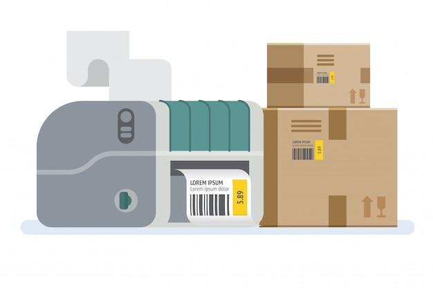 Imprimante d'étiquettes avec boîtes. boîtes d'emballage marquées d'un code à barres. icône illustration