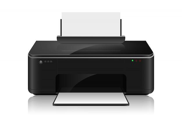 Imprimante à jet d'encre réaliste isoalted sur fond blanc