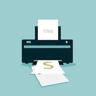 Imprimante simple icône design plat signe vecteur et illustration