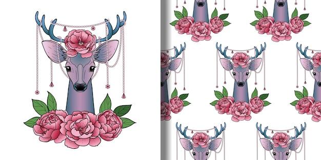Imprimé cerf et pivoines et ensemble de motifs sans couture