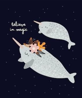 Imprimé chambre d'enfant avec d'adorables narvals. maman et bébé. imprimé enfantin avec d'adorables animaux marins
