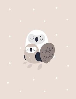 Imprimé enfantin avec une belle famille d'oiseaux chouette. illustration de douche de bébé