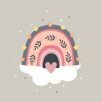 Imprimé enfantin avec joli arc-en-ciel dessiné et fleurs.