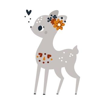 Imprimé enfantin avec joli petit faon avec ornement floral personnage bébé animal