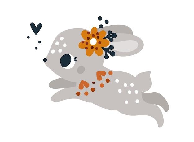 Imprimé enfantin avec un joli petit lapin avec ornement floral personnage bébé animal