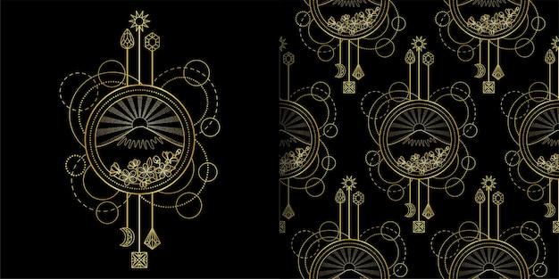 Imprimé gold mountain et sun et ensemble de motifs sans couture