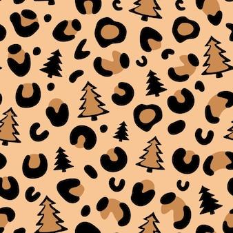 Imprimé léopard de noël sapin de noël motif léopard modèle sans couture de vecteur léopard camouflage
