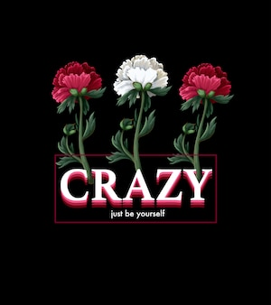 Imprimé pour t-shirt avec fleurs et slogan.