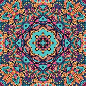 Imprimé de style boho psychédélique médaillon géométrique.