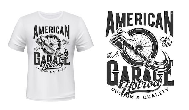Imprimé t-shirt rétro avec roue de voiture et piston moteur. ancien véhicule à rayons ou roue à suspension, illustration de pièce de rechange de voiture et typographie. impression de vêtements american hot rod garage station