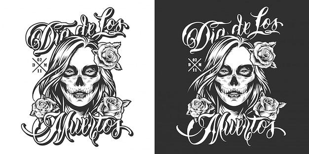 Imprimé vintage dia de los muertos