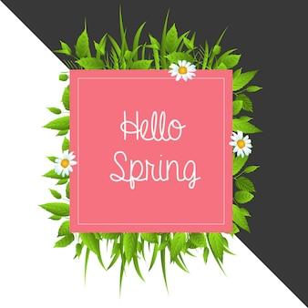 Imprimer bonjour printemps fond de vecteur