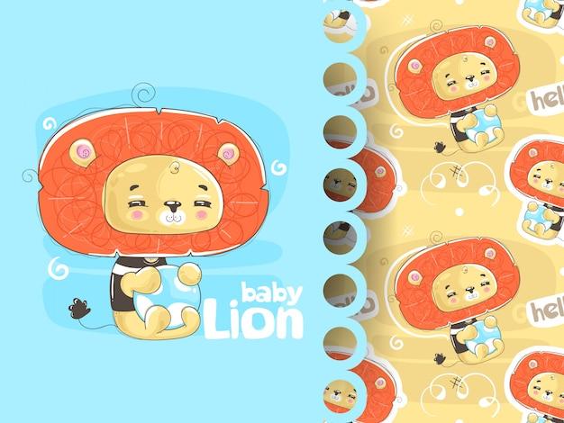 Imprimer avec un lion mignon. idées de t-shirts, décoration, affiches, cartes