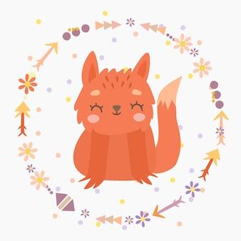 Imprimer le renard dans une couronne de bohème