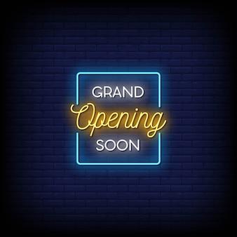 Inauguration prochaine du texte de style néon