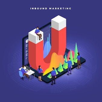 Inbound marketing concept d'illustrations