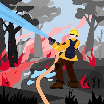 Incendie dans la conception de vecteur de forêt. illustration de feu de forêt