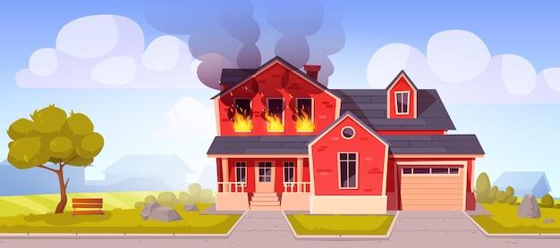 Incendie dans la maison brûlant