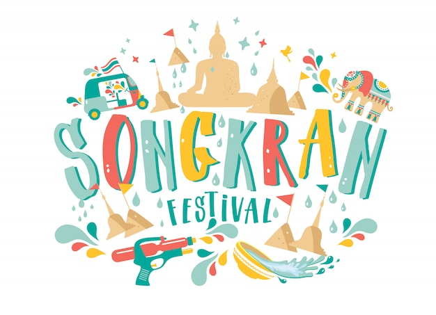 Incroyable conception du festival songkran en thaïlande sur fond blanc.