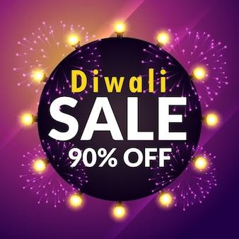 Incroyable diwali vente bannière avec des lumières et des feux d'artifice