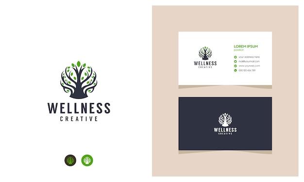 Incroyable logo de bien-être des plantes avec des cartes de visite