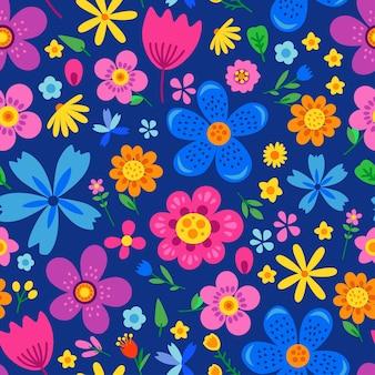 Incroyable motif floral sans couture de fleurs colorées lumineuses