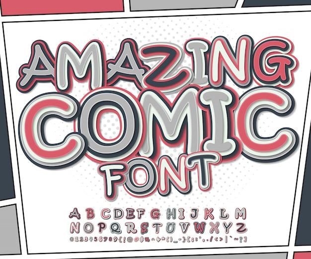 Incroyable police de bande dessinée rose et gris sur la page de livre de bandes dessinées. alphabet drôle de lettres et de chiffres