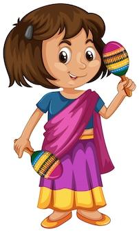 Inde enfant tenant des maracas sur blanc