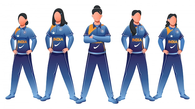 Inde femmes équipe de cricket en posture debout sur fond blanc.
