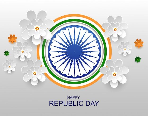 Inde happy republic day carte de voeux fleur en papier