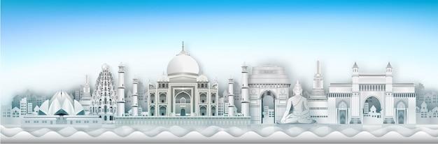 Inde landmark global travel and journey papier