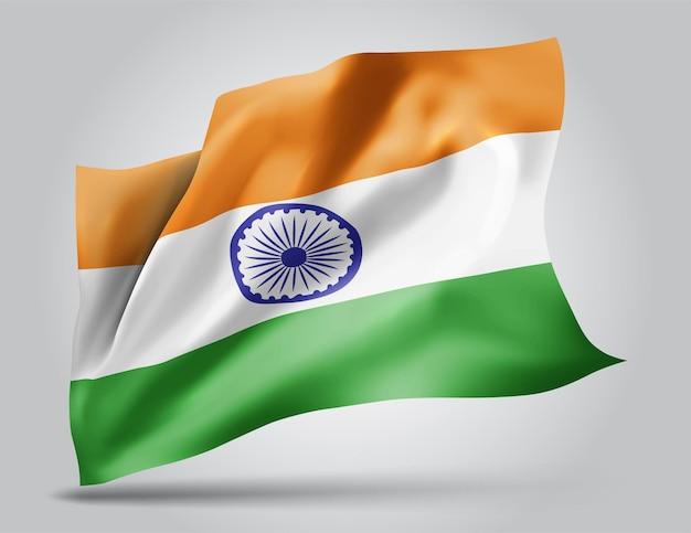 L'inde, vecteur 3d flag isolé sur fond blanc
