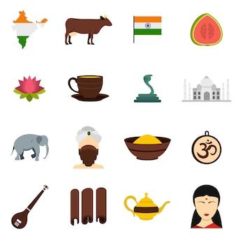 Inde voyage icônes définies dans un style plat