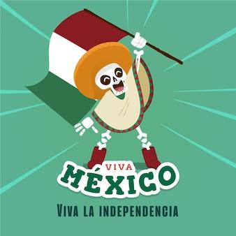 Indépendance du mexique style dessiné à la main