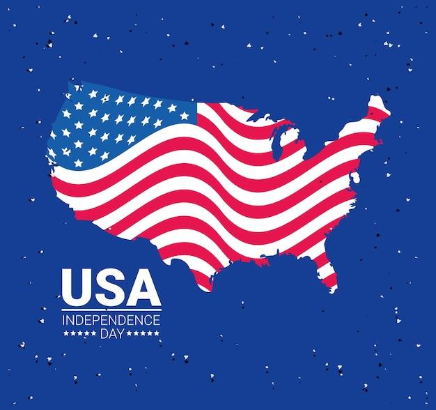 Indépendance des états-unis avec affiche de carte